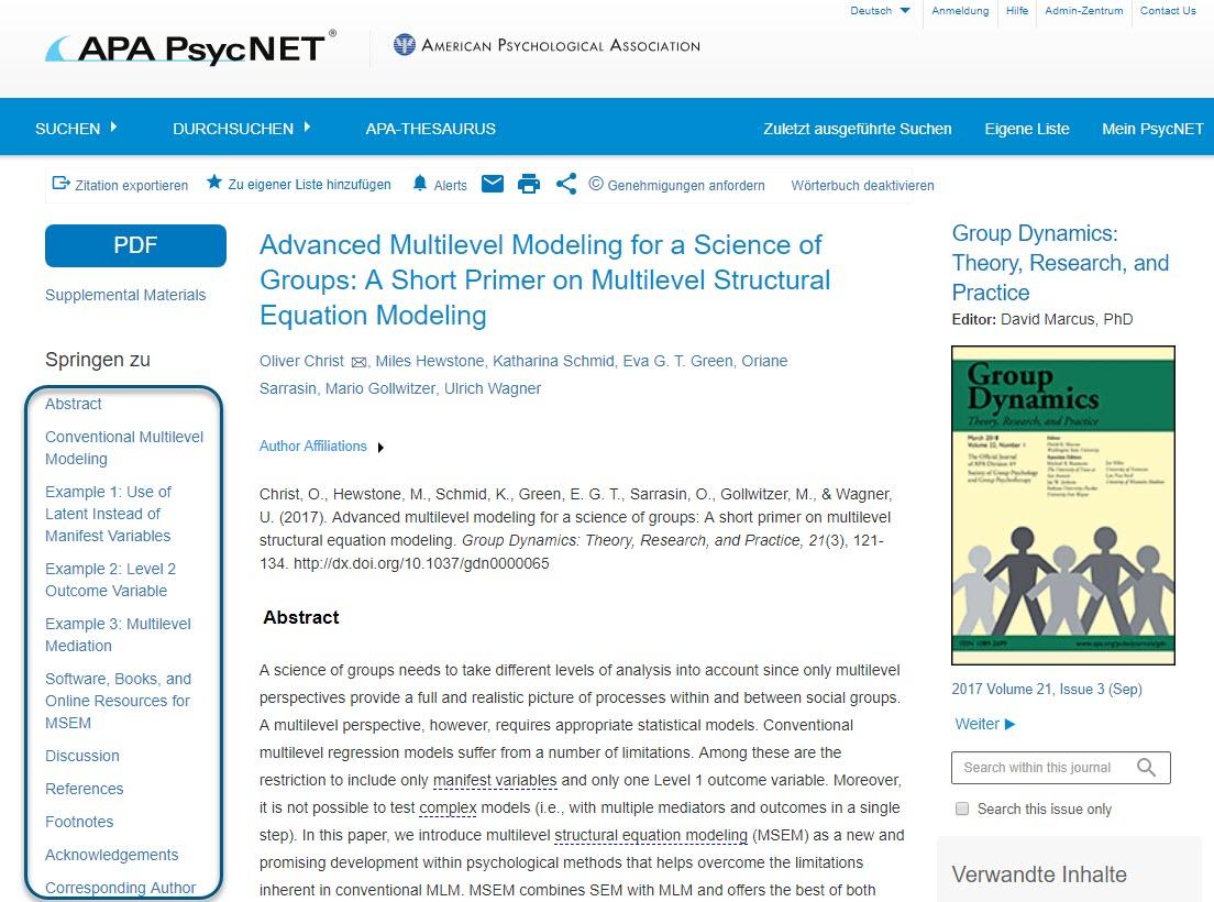 """Volltext als HTML für das Fachmagazin Group Dynamics mit eingekreisten Feldern unter """"Springen zu"""""""
