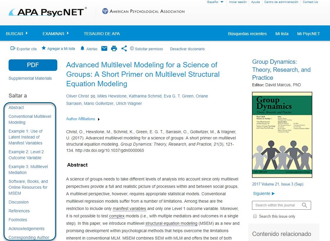 HTML de texto completo para la revista Group Dynamics, con los campos Saltar a en un círculo