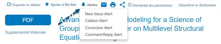 Capture d'écran de PsycNET avec une flèche vers le lien Alertes et sa liste déroulante contenant les options Alerte nouveau numéro, Alerte citation, Alerte correction et Alerte commentaire/réponse