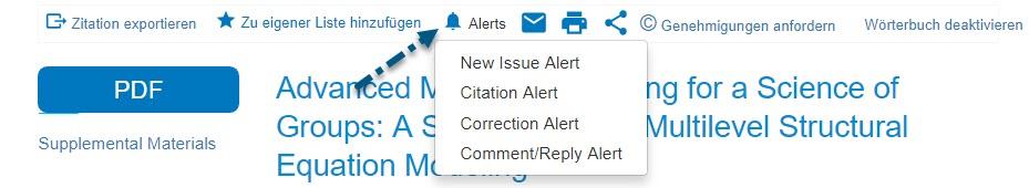 """Screenshot von PsycNET mit Pfeil zum Link """"Alerts"""" und Dropdown-Menü mit den Elementen """"Alert für neue Ausgabe"""", """"Alert für Zitation"""", """"Alert für Korrektur"""" und """"Alert für Kommentar/Antwort"""""""