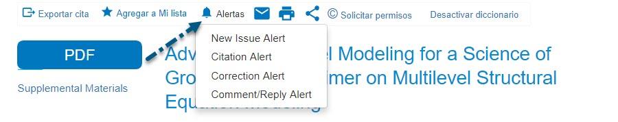 Captura de pantalla de PsycNET mostrando una flecha que apunta al enlace de Alertas con lista desplegable que, a su vez, muestra Alerta de tema, Alerta de cita, Alerta de corrección y Alerta de Comentario/respuesta