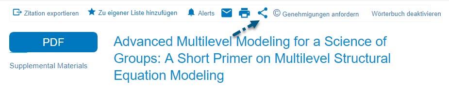 """Screenshot der Ansicht """"Volltext als HTML"""" mit Pfeil zum Symbol """"Teilen"""""""