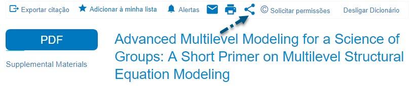Captura de tela do HTML de texto integral mostrando uma seta apontando para o ícone de compartilhamento