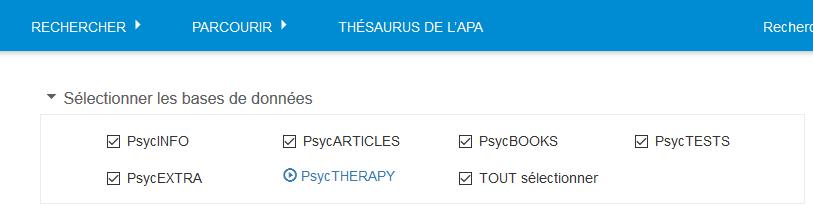 Liste de toutes les bases de données d'APA PsycNET cochées dans la section Sélectionner les bases de données