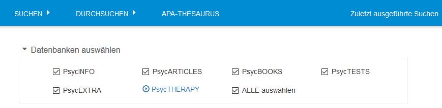 """Auswahl der Liste aller APA PsycNET-Datenbanken im Bereich """"Datenbanken auswählen"""""""