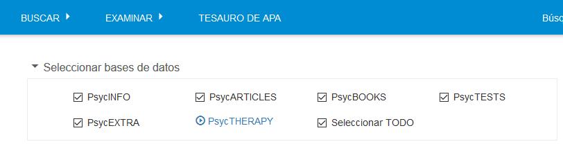 Lista de todas las bases de datos APA PsycNET seleccionadas en la sección Seleccionar bases de datos