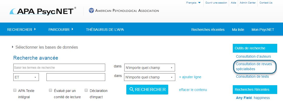 Capture d'écran de PsycNET avec le lien Consultation de revues spécialisées entouré sous la section Outils de recherche