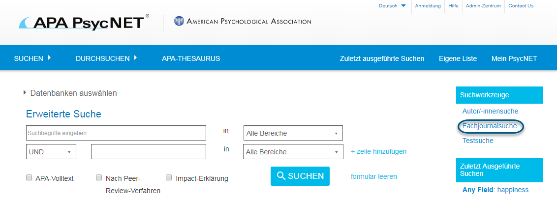"""Screenshot von PsycNET mit eingekreistem Link """"Fachjournalsuche"""" unter dem Abschnitt """"Suchwerkzeuge"""""""