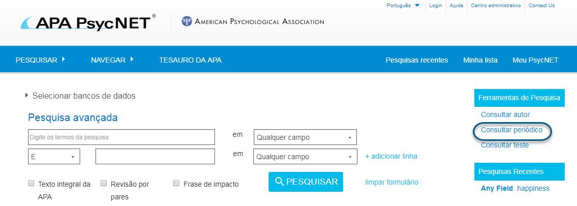 Captura de tela do PsycNET com o link de consulta de periódicos circulado na seção de ferramentas de pesquisa