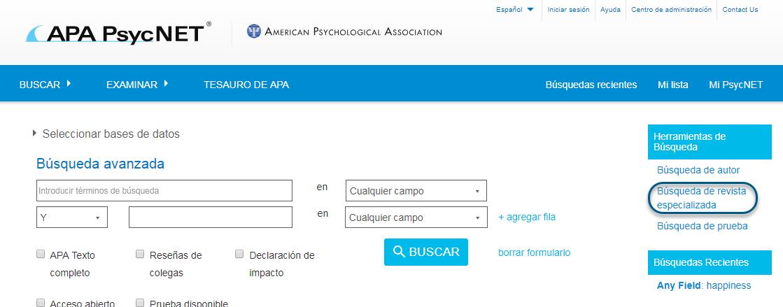 Captura de pantalla de PsycNET con el enlace Búsqueda de revista especializada en un círculo, en la sección Herramientas de búsqueda