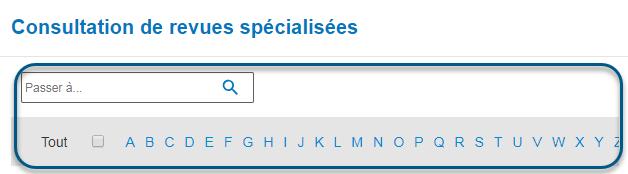Capture d'écran de la page Consultation de revues spécialisées de PsycNET avec la bande alphabétique entourée
