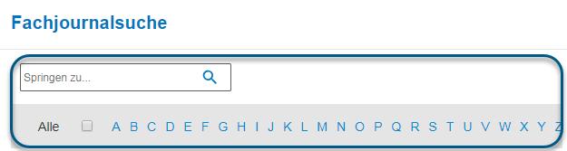 """Screenshot des Bildschirms """"Fachjournalsuche"""" in PsycNET mit eingekreistem Alphabetstreifen"""