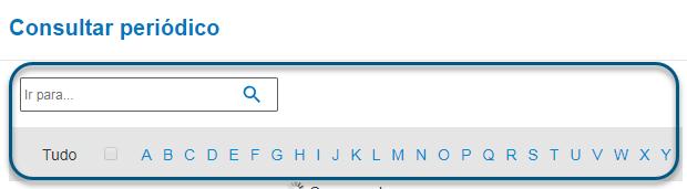 Captura de tela da consulta de periódicos do PsycNET com a lista alfabética circulada