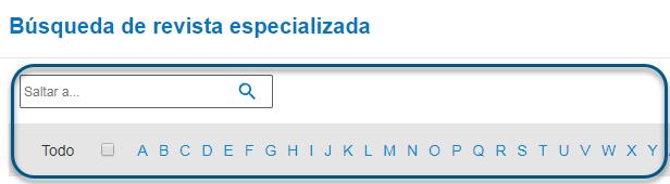 Captura de pantalla de Búsqueda de revista especializada de PsycNET con la barra alfabética en un círculo