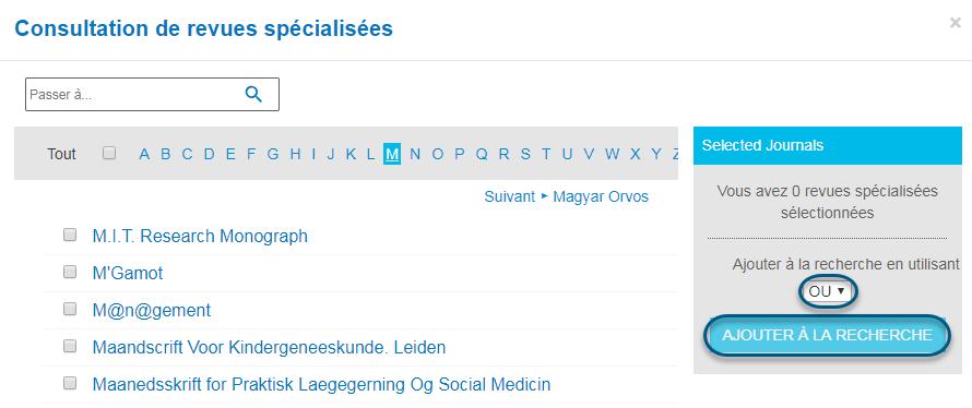 Capture d'écran de la page Consultation de revues spécialisées de PsycNET avec l'opérateur booléen OU sélectionné et le bouton Ajouter à la recherche entouré
