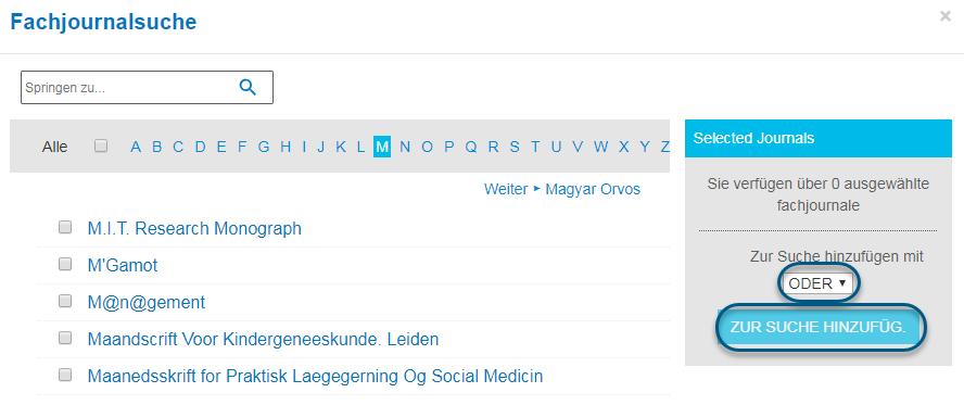 """Screenshot des Bildschirms """"Fachjournalsuche"""" in PsycNET mit gewähltem booleschen ODER und eingekreister Schaltfläche """"Suche"""""""