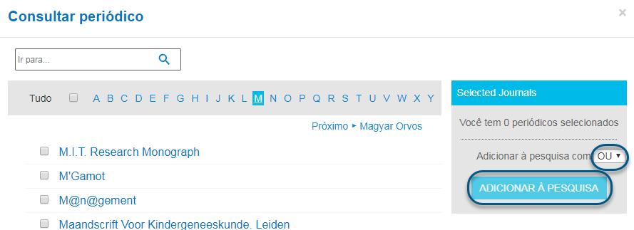Capturas de tela da consulta de periódicos do PsycNET com o operador booleano OU escolhido e o botão de adicionar à pesquisa circulado