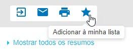 """Captura de tela mostrando o cursor apontando para o ícone de estrela """"Adicionar à minha lista"""""""