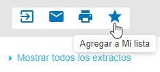 Captura de pantalla que muestra el cursor apuntando al icono de estrella que es para Agregar a mi lista
