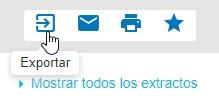 Captura de pantalla que muestra el cursor apuntando al icono exportar que es para Exportar