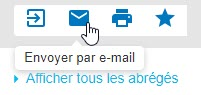 Capture d'écran montrant le curseur placé sur l'icône en forme d'enveloppe Envoyer par e-mail