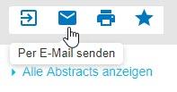 """Screenshot mit Mauszeiger auf dem Briefumschlagsymbol, das für """"Per E-Mail senden"""" steht"""