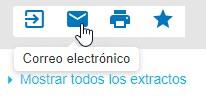 Captura de pantalla que muestra el cursor apuntando al icono de sobre que es para Enviar por correo electrónico