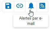 Capture d'écran montrant l'icône Alertes par e-mail entourée dans PsycNET