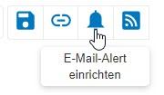 """Screenshot mit eingekreistem Symbol """"E-Mail-Alert einrichten"""" in PsycNET"""