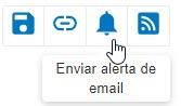 Captura de tela mostrando o ícone de alerta de email circulado
