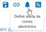 Captura de pantalla que muestra el icono Definir alerta de correo electrónico en un círculo en PsycNET