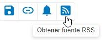 Captura de pantalla que muestra el icono Obtener fuente RSS en un círculo en PsycNET
