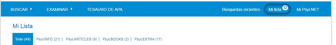 Captura de pantalla de la pantalla de PsycNET Mi lista, con un contador que muestra el número 40 en la parte superior del enlace Mi Lista