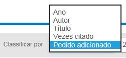 """Captura de tela do menu suspenso """"Classificar por"""" na tela """"Minha lista"""" com """"Ordem de adição"""" selecionada e as outras opções de ano, autor, título e quantidade de citações"""