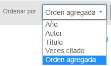 Captura de pantalla del menú desplegable Ordenar por en la pantalla de PsycNET Mi lista, con Orden agregada como el valor seleccionado y otras opciones de Año, Autor, Título y Veces citado