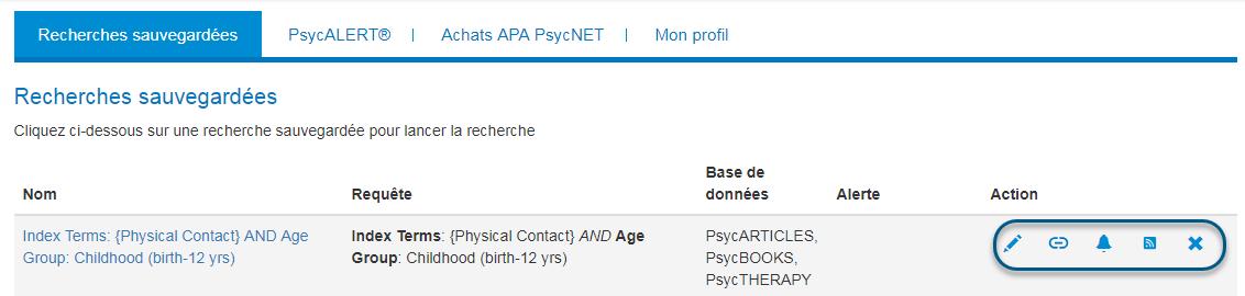Mon PsycNET, page des recherches sauvegardées avec les icônes d'action entourées