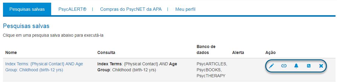 Tela de pesquisas salvas do Meu PsycNET com os ícones de ação circulados