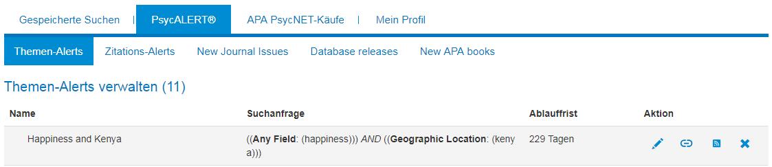 """Bildschirm """"Themen-Alerts verwalten"""" in Mein PsycNET mit Beispiel für einen Themen-Alert"""