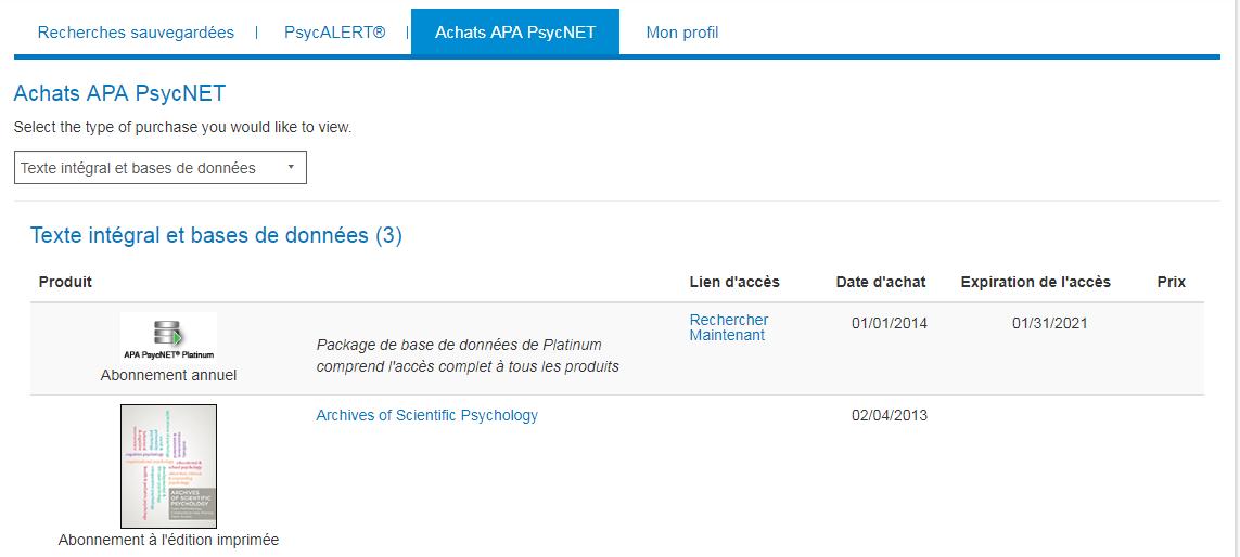 Mon PsycNET, page Achats APA PsycNET avec exemple d'abonnement annuel et d'abonnement à l'édition imprimée