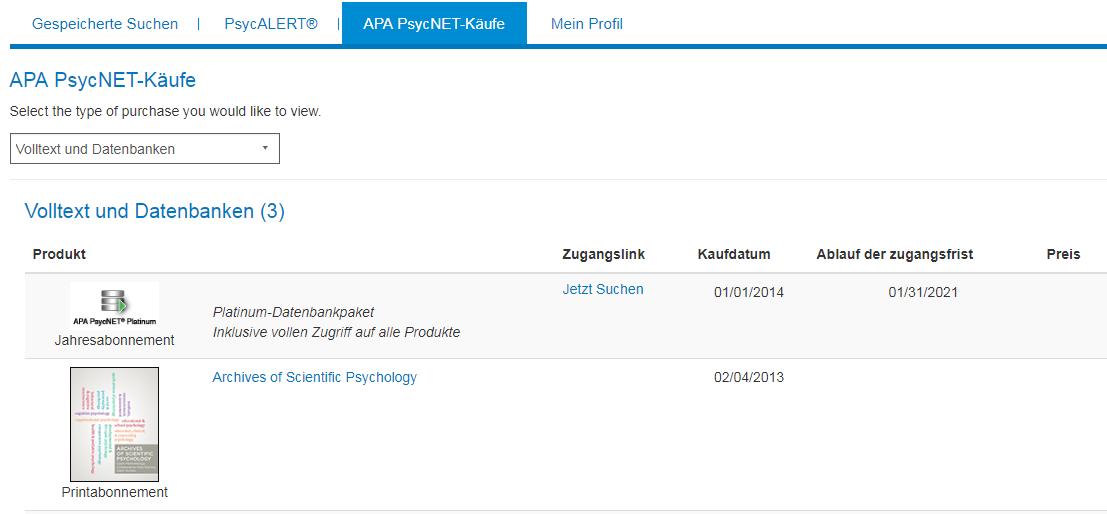 """Bildschirm """"APA PsycNET-Käufe"""" in Mein PsycNET mit Beispiel für Jahresabonnement und Printabonnement"""