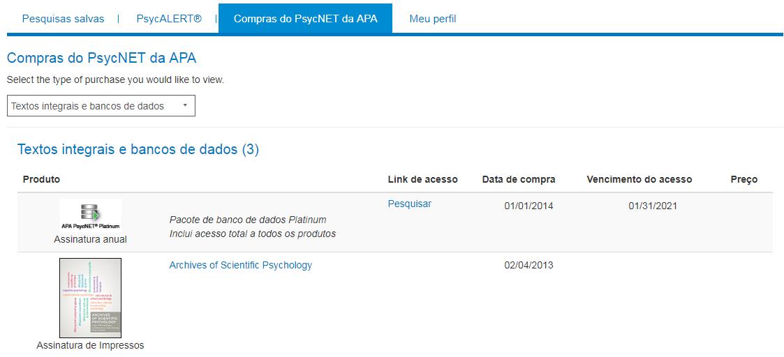 Tela de compras no PsycNET do Meu PsycNET com exemplo de assinatura anual e assinatura de impressão