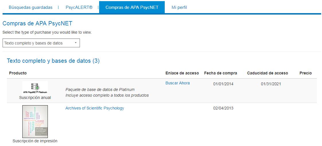 Pantalla Compras de APA PsycNET en Mi PsycNET con ejemplo de Suscripción anual y Suscripción de impresión