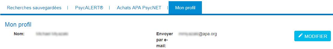 Mon PsycNET, page Mon profil avec les champs Nom et E-mail et le bouton Modifier