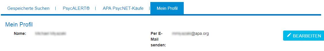 """Bildschirm """"Mein Profil"""" in Mein PsycNET mit den Feldern """"Name"""" und """"E-Mail"""" und der Schaltfläche """"Bearbeiten"""""""