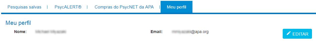 """Tela """"Meu perfil"""" no Meu PsycNET com nome, email e botão de edição."""