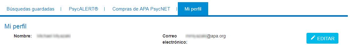 Pantalla Mi perfil en Mi PsycNET con campos de Nombre y Correo electrónico, y botón Editar