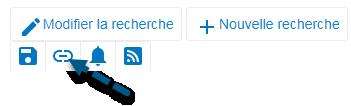 Capture d'écran de PsycNET avec une flèche vers l'icône Obtenir le lien permanent