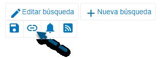 Captura de pantalla de PsycNET con una flecha apuntando al icono Obtener enlace permanente