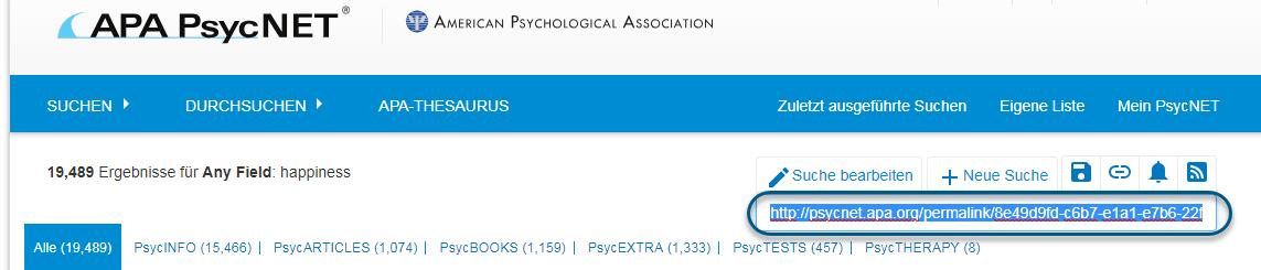Screenshot von PsycNET mit dem hervorgehobenen Permalinkfeld, das kopiert und eingefügt werden kann