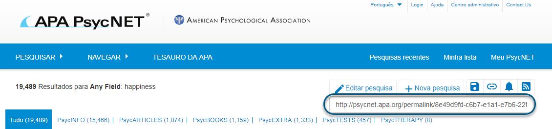Captura de tela do PsycNET mostrando o campo Permalink realçado e que pode ser copiado e colado